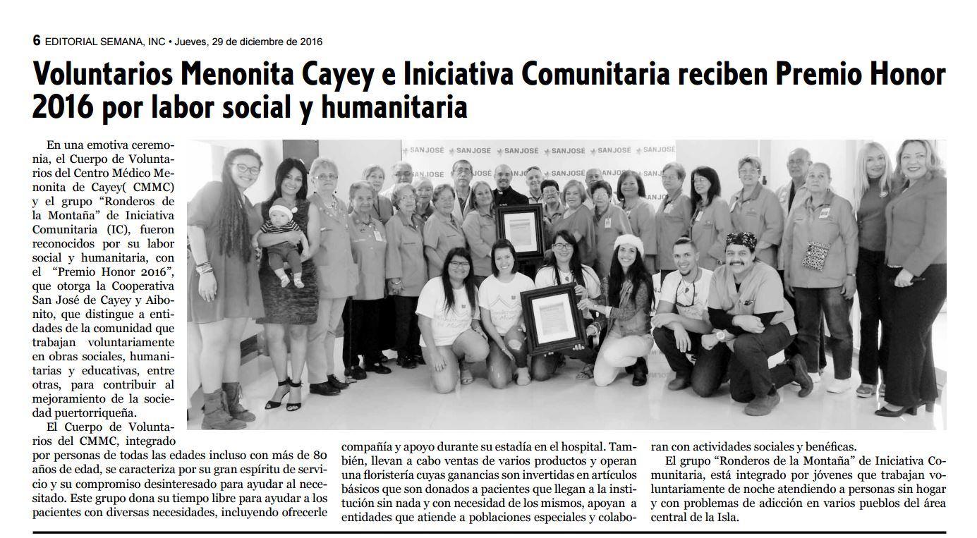 Voluntarios Menonita Cayey e Iniciativa Comunitaria reciben Premio Honor 2016 por labor social y humanitaria