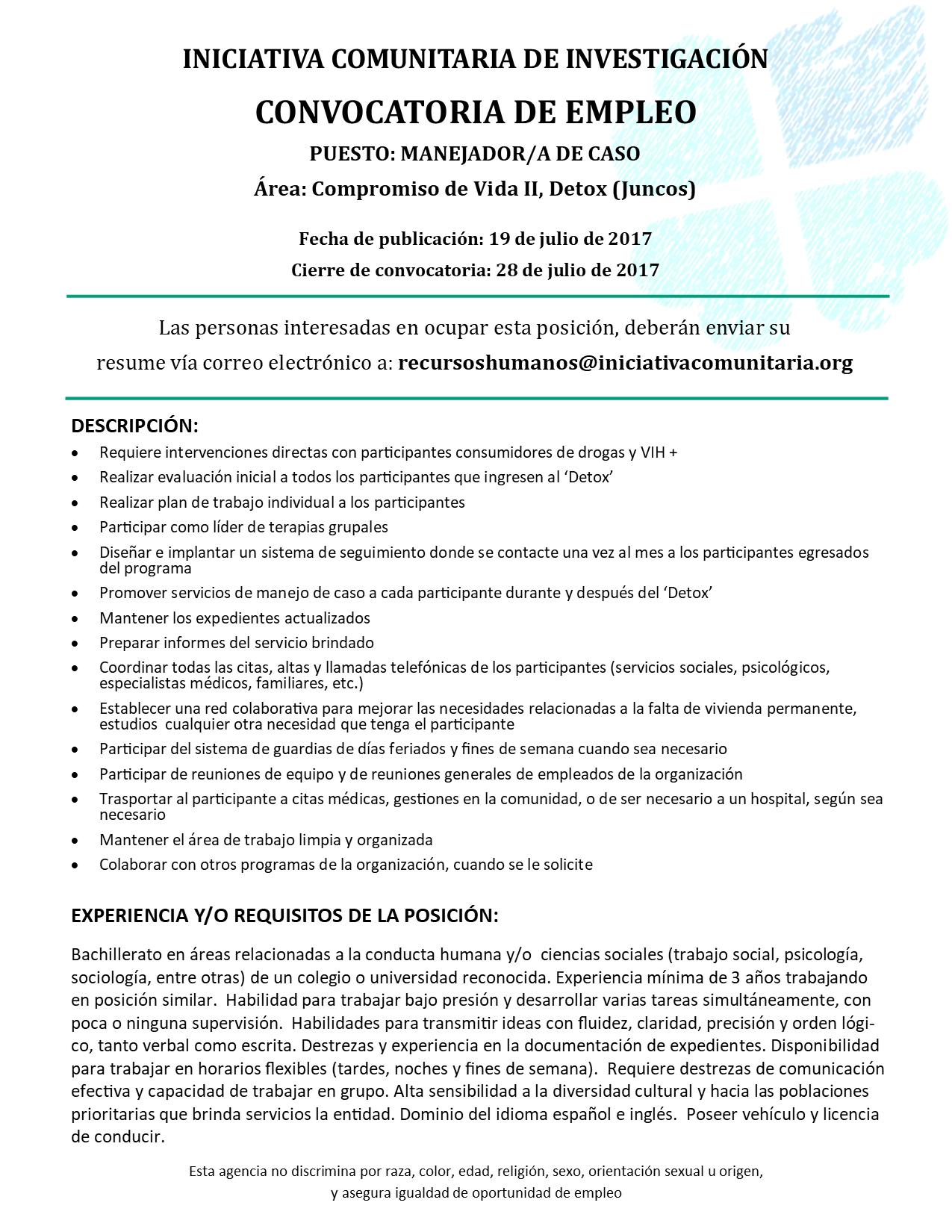 Iniciativa Comunitaria | Convocatoria Manejo de Casos CV2 Detox